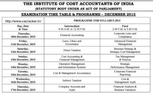 cma dec 2015 exam time table