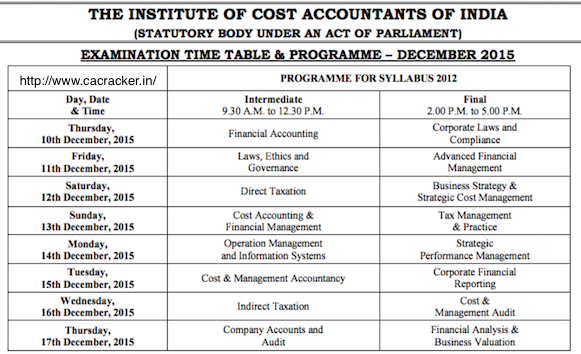 cma dec 2015 exam time table