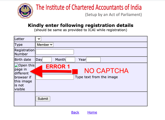 icai reprint letter site not working